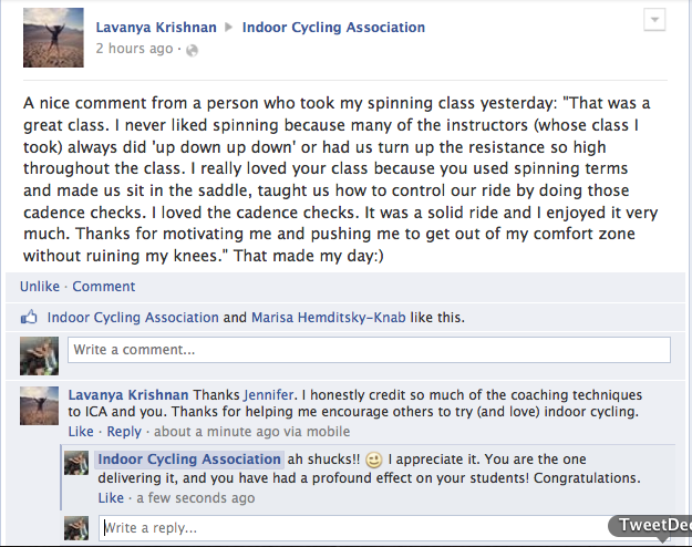Lavanya to ICA on FB - great comment after class